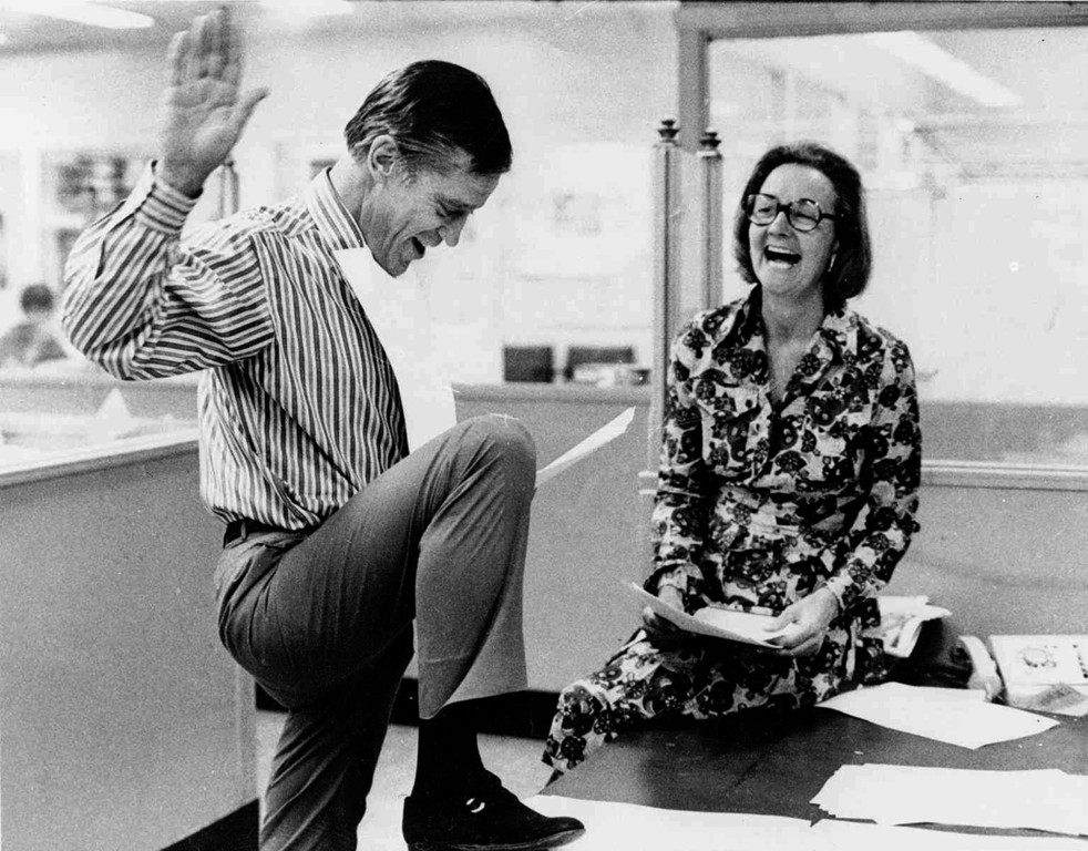 Ben Bradlee and Publisher Katharine Graham in 1971 after winning a Supreme Court ruling allowing continued publication of the Pentagon Papers. Photo courtesy of The Washington Post