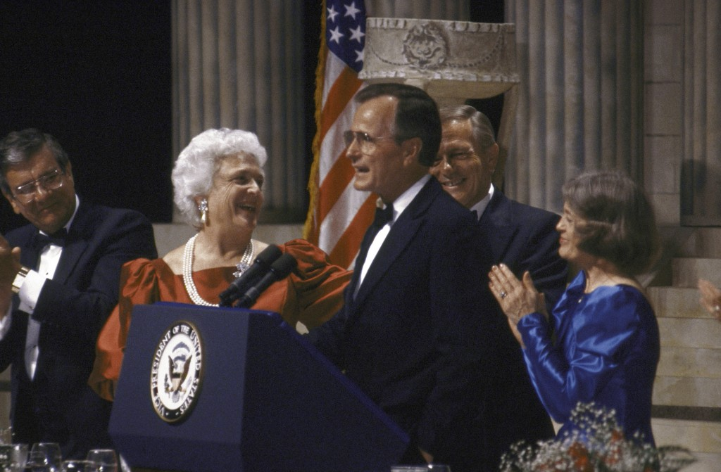 In this May 01, 1988 file photo, then presidential hopeful George H. W. Bush gives a speech at a GOP dinner. Photo by Dirck Halstead/Time Life Pictures/Getty Images
