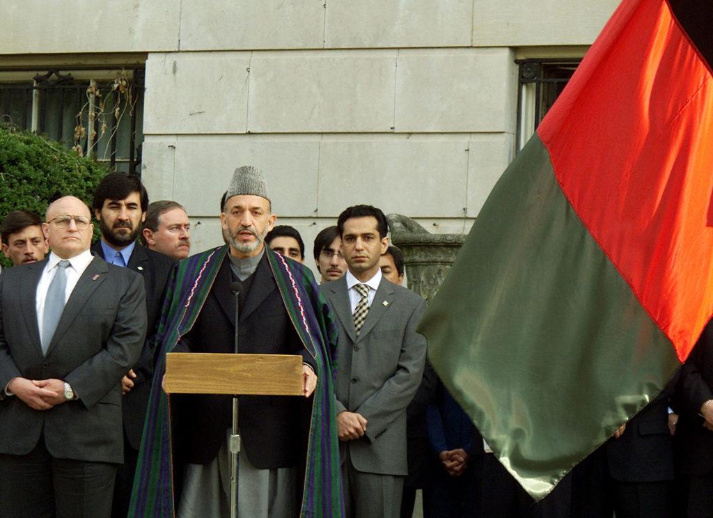 AFGHAN INTERIM LEADER KARZAI AT FLAG RAISING EVENT IN WASHINGTON.