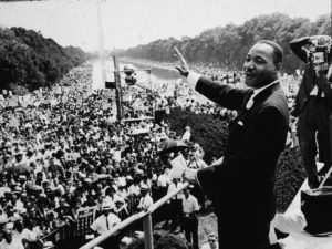 American Civil Rights leader Dr. Martin Luther King Jr. (1929-1968) addresses a crowd at the March On Washington in D.C., August 28, 1963. Photo by CNP/Getty Images