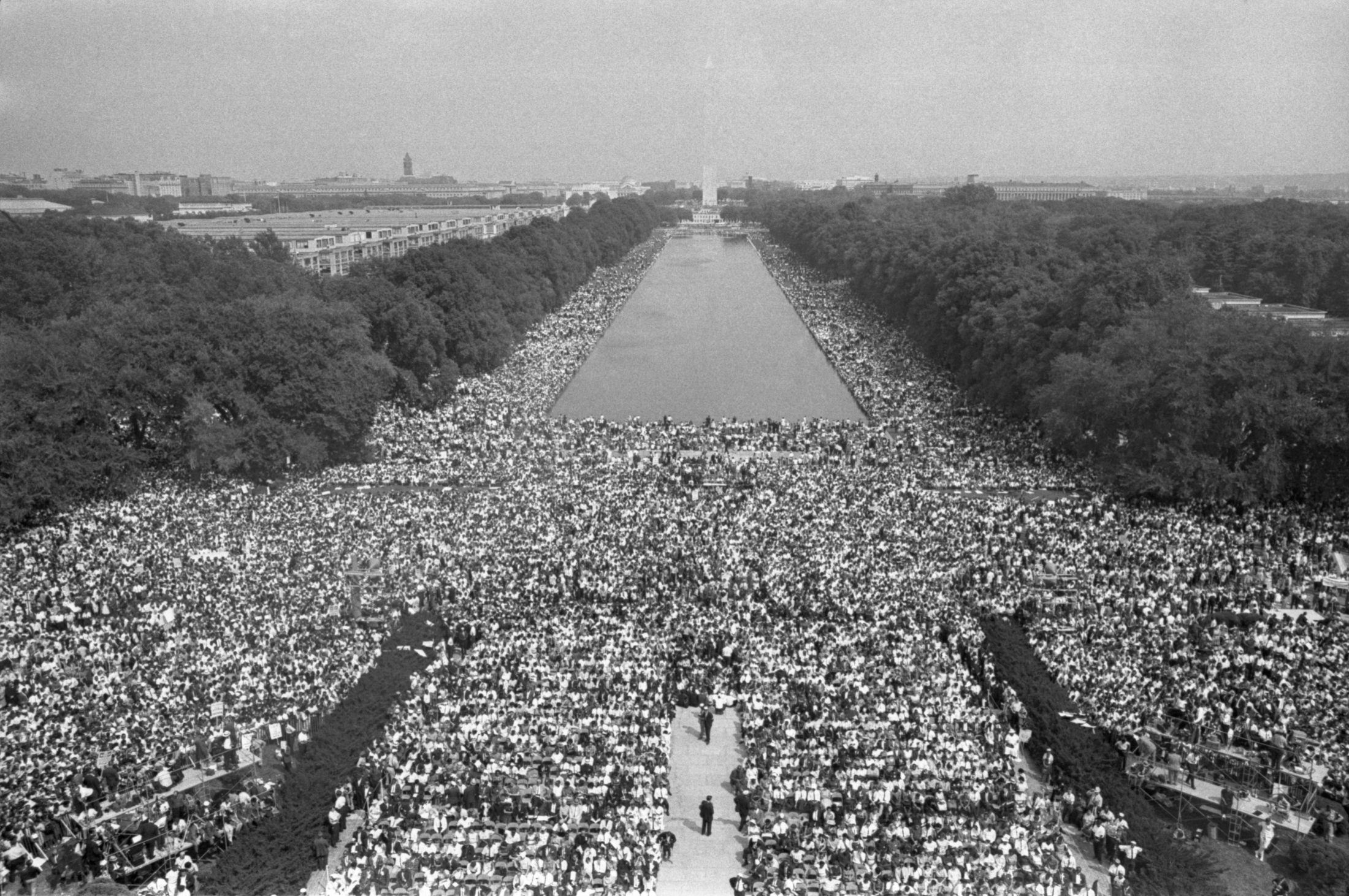 This photo, taken from the top of Lincoln Memorial, shows how March on Washington participants jammed the area in front of the memorial and on either side of the Reflecting Pool. Photo by Getty Images