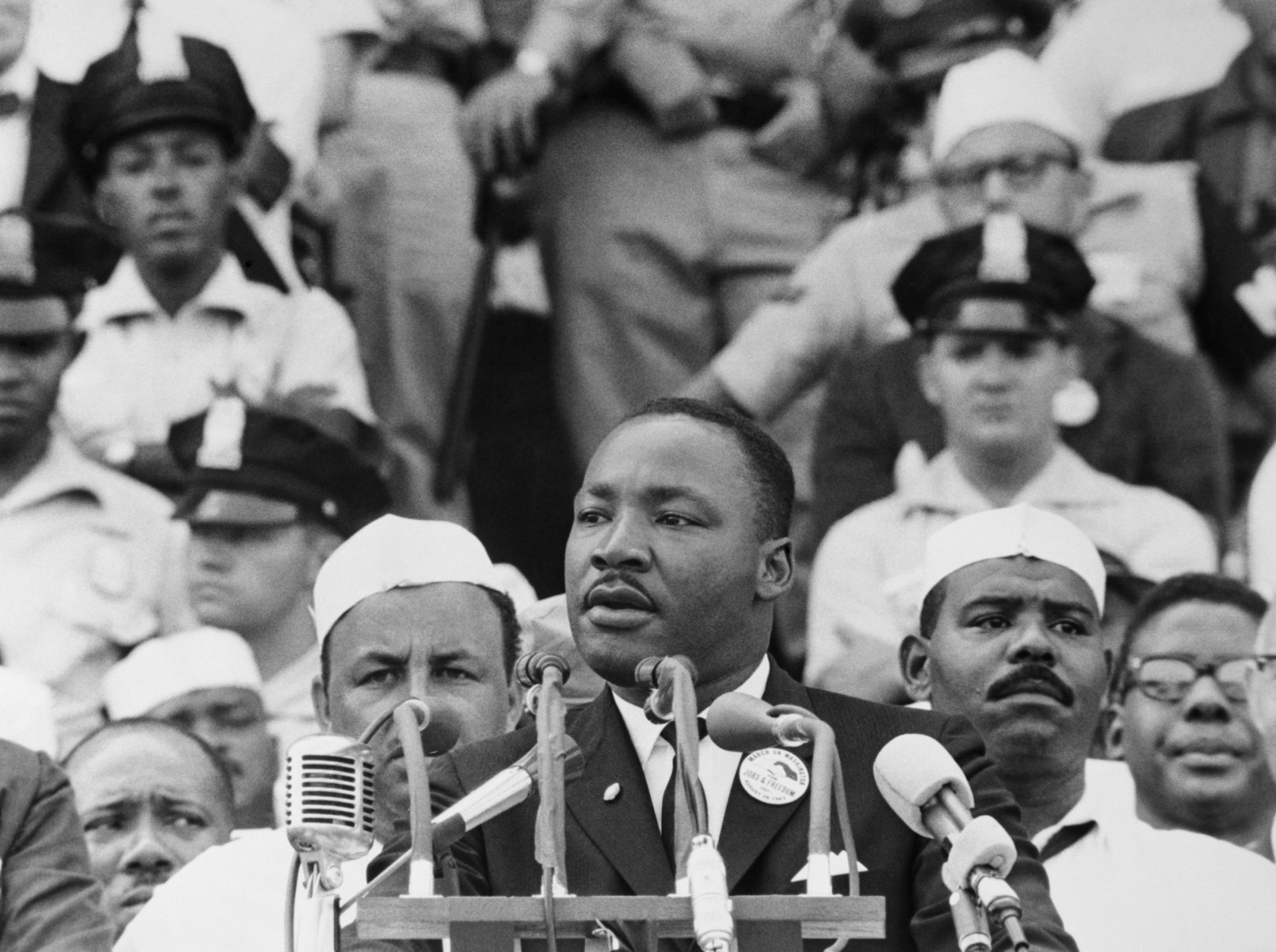 """Martin Luther King Jr., gives his 1963 """"I Have a Dream"""" speech to a crowd before the Lincoln Memorial. Photo by Getty Images"""