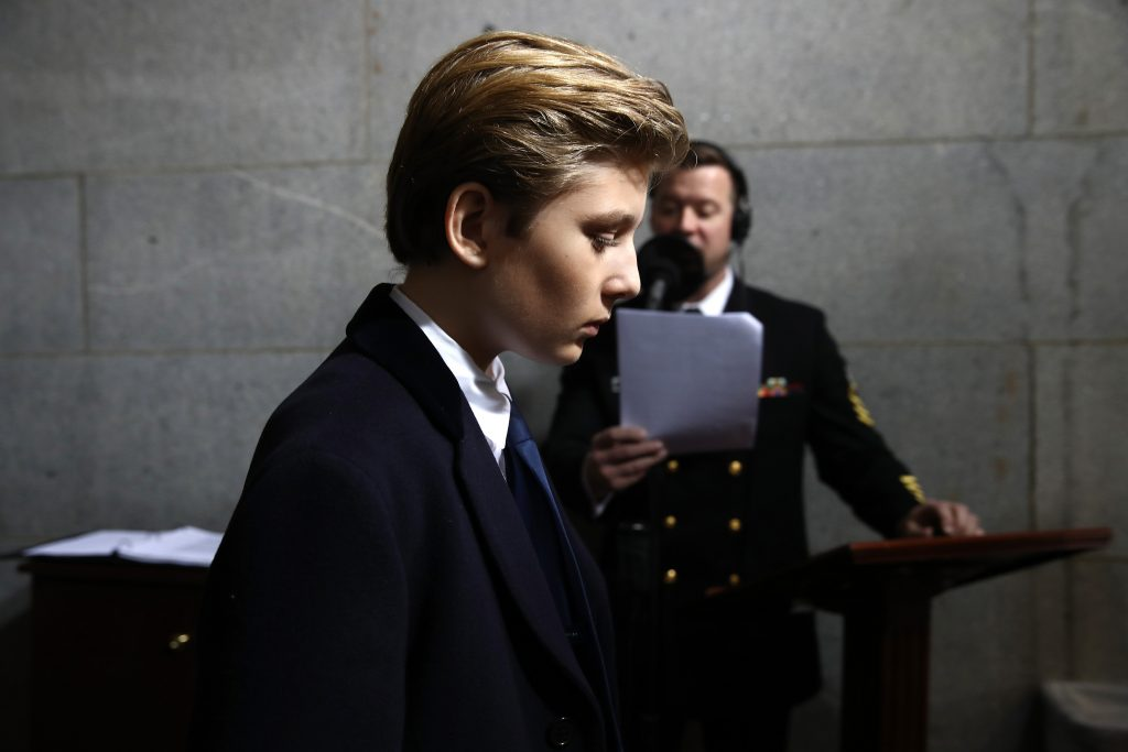 Barron Trump arrives on the West Front of the U.S. Capitol in Washington, D.C., U.S., January 20, 2017. Photo by Win McNamee/Pool via Reuters