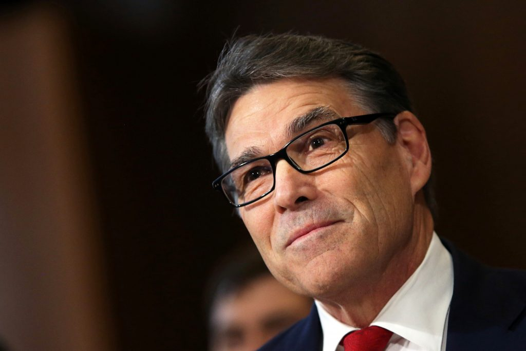 Former Texas Gov. Rick Perry testifies before a Senate Energy and Natural Resources Committee hearing on his nomination to...