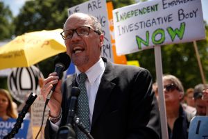 Perez rallies with protesters against Trump's firing of Comey, outside the White House in Washington