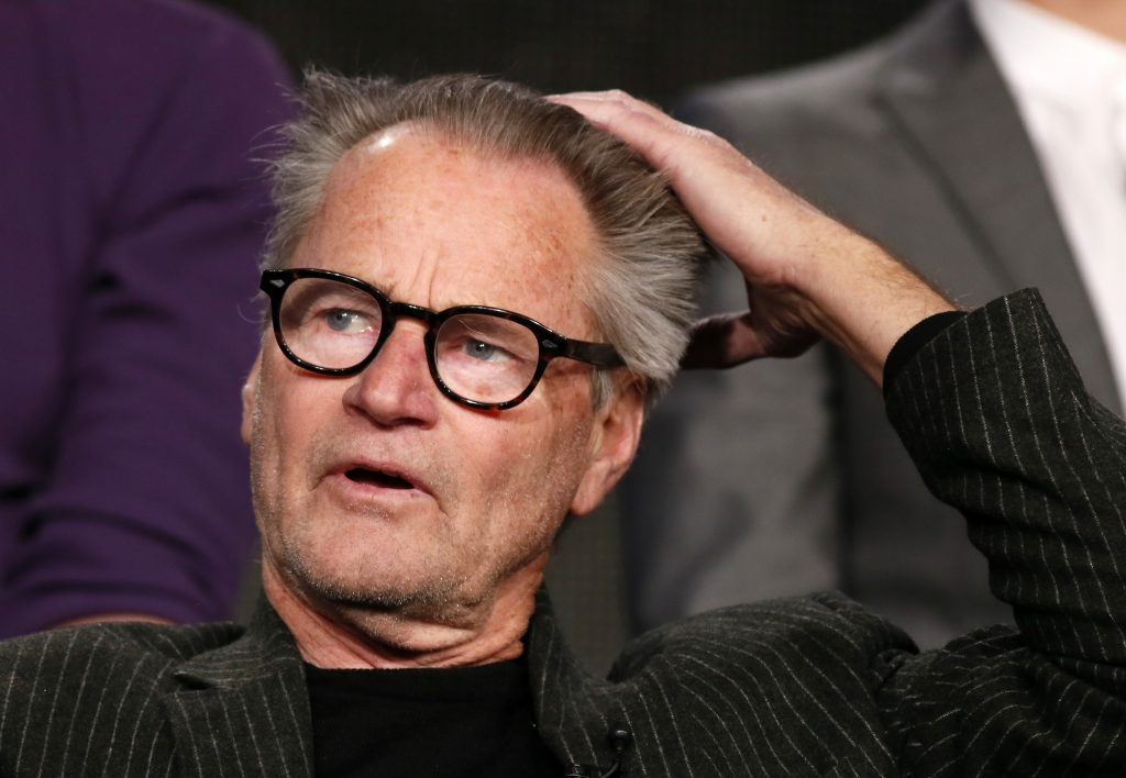 "Actor Sam Shepard talks about Discovery Channel's ""Klondike"" during the Winter 2014 TCA presentations in Pasadena, California, January 9, 2014. REUTERS/Lucy Nicholson (UNITED STATES - Tags: ENTERTAINMENT PROFILE) - RTX177UP"