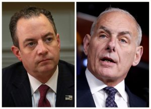 Priebus (L) at the White House in Washington, U.S., June 26, 2017 and Kelly on Capitol Hill in Washington, U.S., June 29, 2017 are pictured in a combination photo.