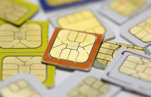 SIM cards lie on a table in this photo illustration taken in Sarajevo