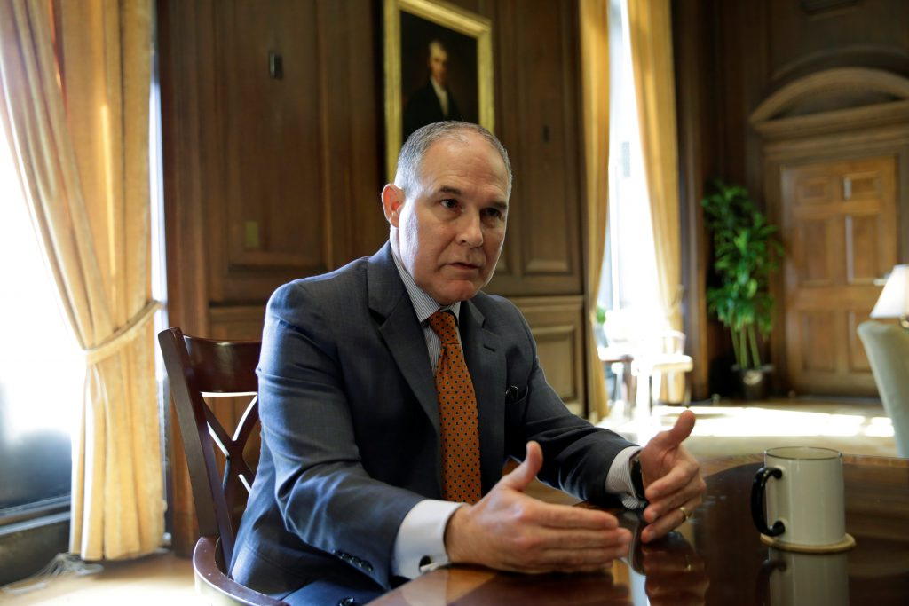 Environmental Protection Agency Administrator Scott Pruitt speaks during an interview for Reuters at his office in Washington, U.S., July 10, 2017. REUTERS/Yuri Gripas - RTX3B1DQ