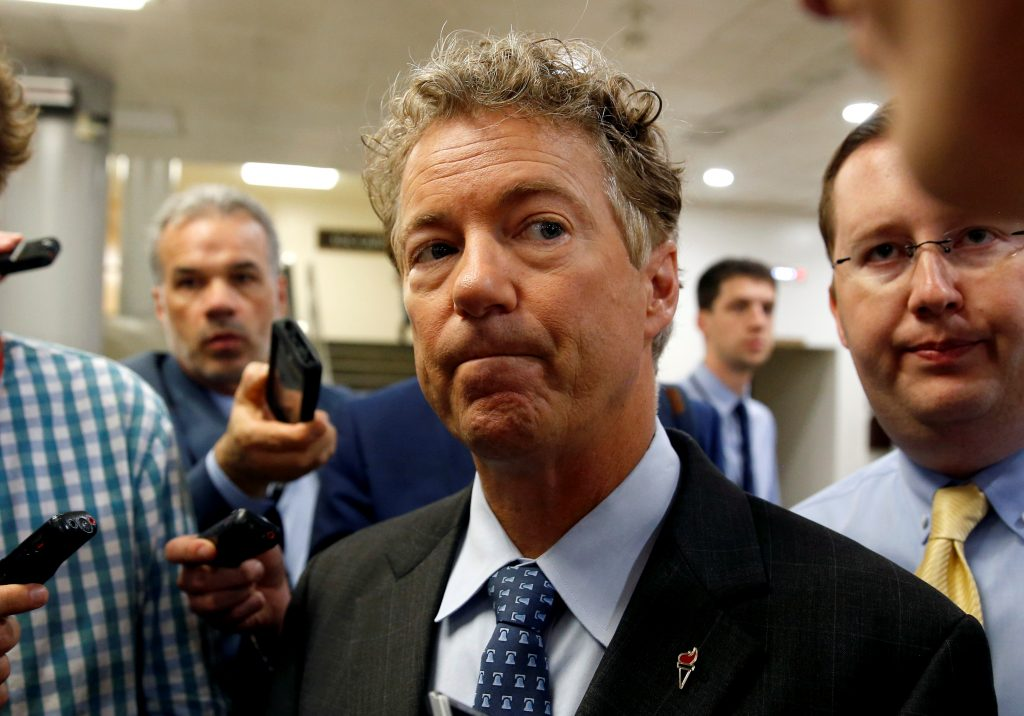 Senator Rand Paul (R-KY) speaks to reporters after Senate Republicans unveiled their version of legislation that would replace Obamacare on Capitol Hill in Washington, U.S., June 22, 2017. REUTERS/Joshua Roberts - RTS189E2