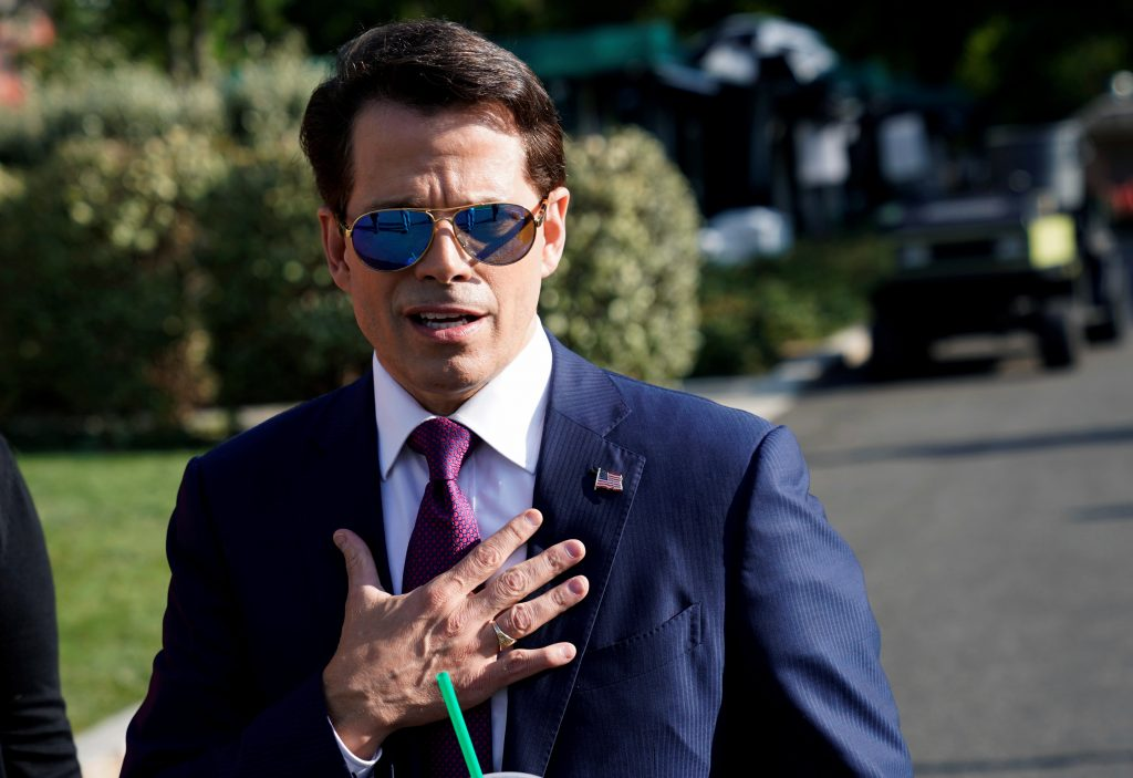 White House Communications Director Anthony Scaramucci speaks after an on air interview at the White House in Washington, ...