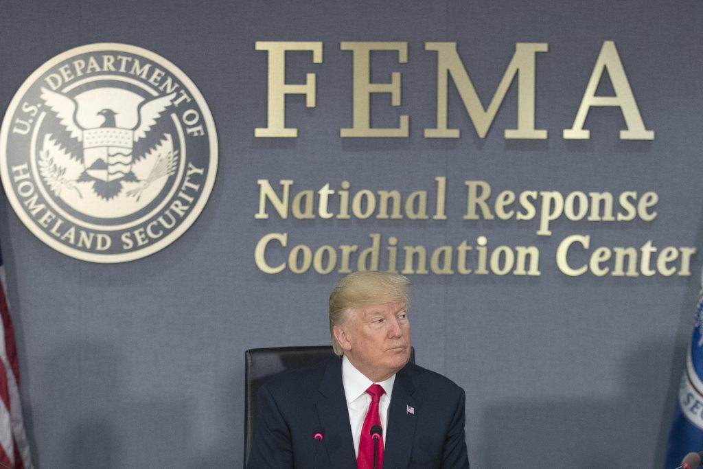 WASHINGTON, DC - AUGUST 4: (AFP OUT) U.S. President Donald Trump speaks during a visit to Federal Emergency Management Agency (FEMA) headquarters on August 4, 2017 in Washington, DC. Trump visited FEMA headquarters to receive a briefing on the hurricane season. (Photo by Michael Reynolds - Pool/Getty Images)