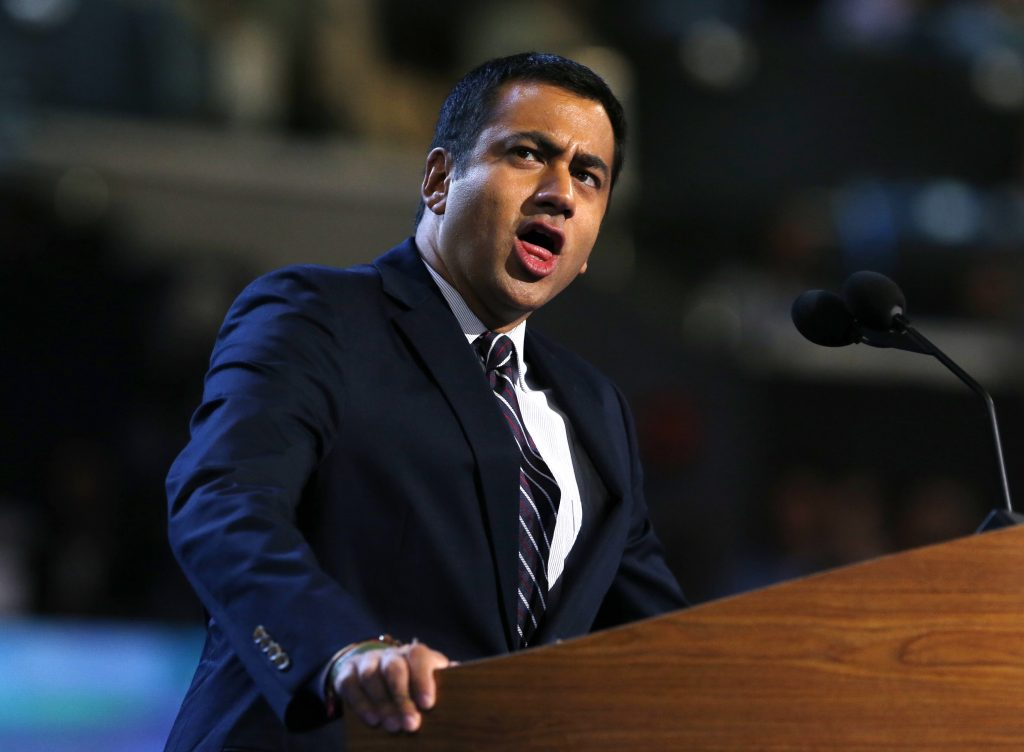 Actor Kal Penn addresses delegates during the first day of the 2012 Democratic National Convention in Charlotte, North Carolina. Photo by Eric Thayer/Reuters