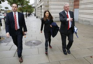 Attorneys for former Blackwater guard Nicholas Slatten walk away from the U.S. District Court in Washington, October 22, 2014. Photo by Larry Downing/Reuters