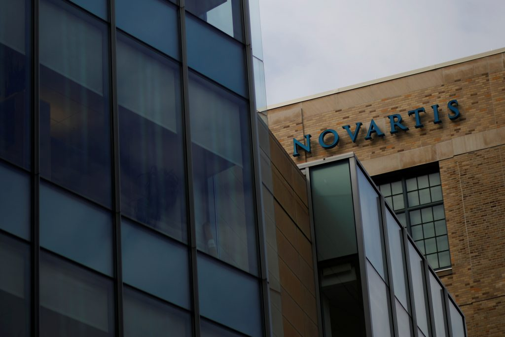 A sign marks a building on Novartis' campus in Cambridge