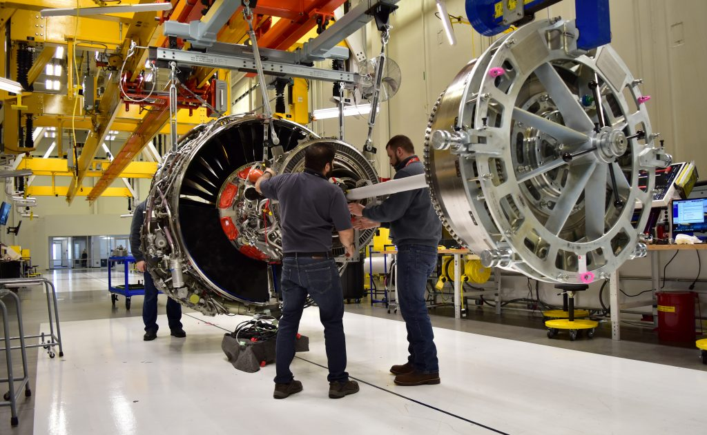 Technicians build LEAP engines for jetliners at a new, highly automated General Electric (GE) factory in Lafayette, Indian...