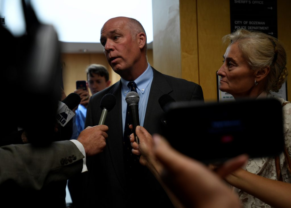 Montana Republican congressman-elect Greg Gianforte appears in court to face a charge of misdemeanor assault after he was accused of attacking a reporter on the eve of his election, in Bozeman, Montana, U.S., June 12, 2017. REUTERS/Tommy Martino - RTS16RTF