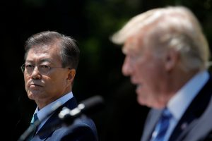 U.S. President Donald Trump (R) and South Korean President Moon Jae-in deliver a joint statement from the Rose Garden of the White House in Washington, U.S.