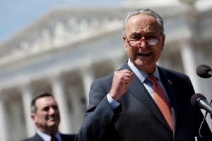 Senate Minority Leader Chuck Schumer speaks during a press conference for the Democrats' new economic agenda on Capitol Hill in Washington, D.C. Photo by Aaron P. Bernstein/Reuters
