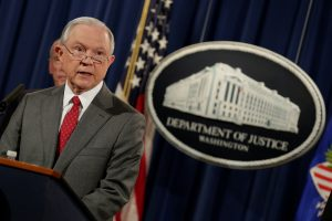 U.S. Attorney General Jeff Sessions speaks at the Justice Department in Washington, D.C. File photo by Yuri Gripas/Reuters