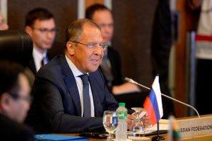 Russia's Foreign Affairs Minister Sergey Lavrov speaks during a meeting with the ASEAN foreign ministers and their representatives as they take part in the ASEAN-U.S. Ministerial meeting in Manila