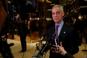 FILE PHOTO - Chicago Mayor Rahm Emanuel speaks with media after meeting with U.S. President-elect Donald Trump at Trump Tower in Manhattan, New York City, U.S. on December 7, 2016. REUTERS/Andrew Kelly/File Photo - RTS1ANNI