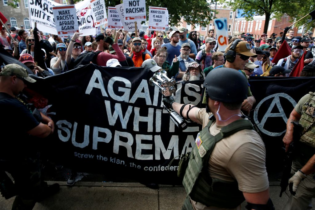 White nationalists are met by a group of counter-protesters in Charlottesville, Virginia. Photo by Joshua Roberts/Reuters