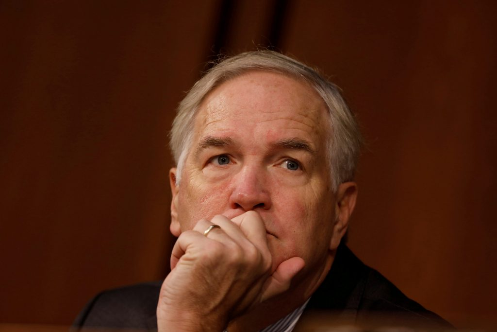 FILE PHOTO: Sen. Luther Strange (R-AL) looks on during a hearing of the Senate Armed Services Committee on Capitol Hill in Washington March 9, 2017. REUTERS/Aaron P. Bernstein/File Photo - RTS1BVG3