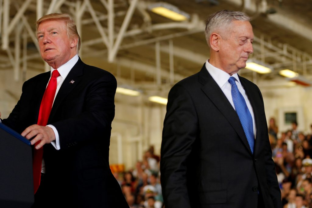 President Donald Trump (L) is introduced by Defense Secretary James Mattis (R) during a July commissioning ceremony of the aircraft carrier USS Gerald R. Ford at Naval Station Norfolk in Norfolk, Virginia. Photo by Jonathan Ernst/Reuters