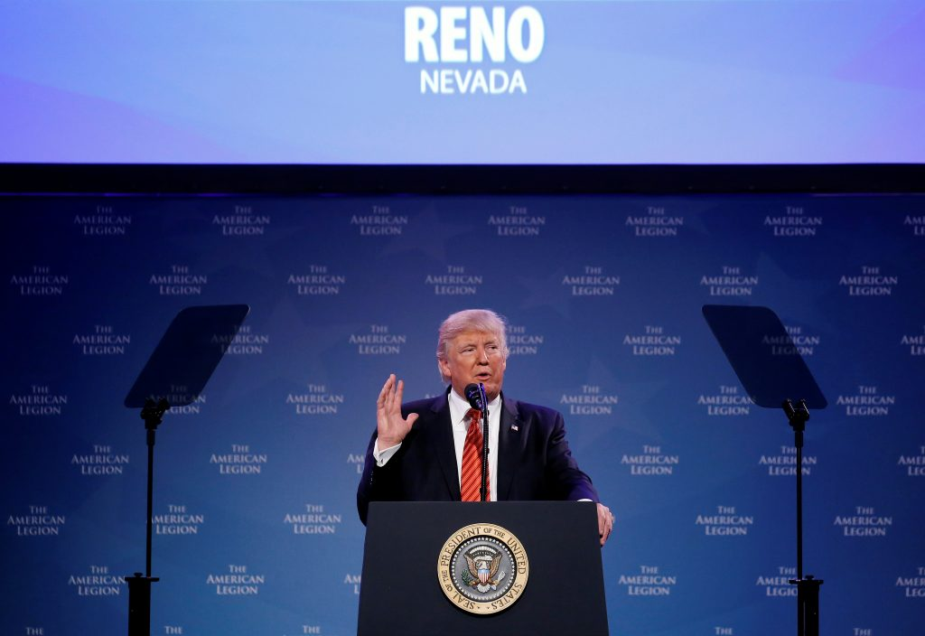 President Donald Trump speaks to the National Convention of the American Legion in Reno, Nevada. Photo by Joshua Roberts/Reuters