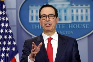 Treasury Secretary Steven Mnuchin speaks at a news briefing at the White House, where he announced new sanctions against Venezuela, on Aug. 25. Photo by Yuri Gripas/Reuters
