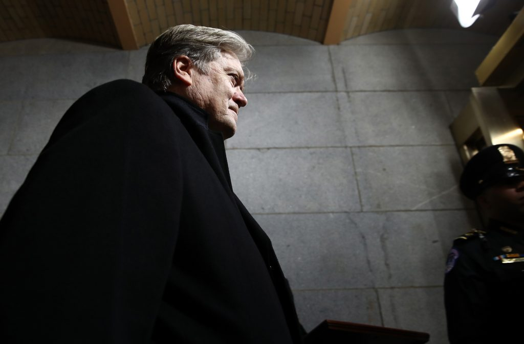 Senior Counselor to the President Steve Bannon arrives before the presidential inauguration on the West Front of the U.S. Capitol in Washington, D.C., U.S., January 20, 2017. REUTERS/Win McNamee/Pool - RTSWKL4
