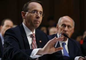 Deputy U.S. Attorney General Rosenstein testifies at a Senate Intelligence Committee hearing on Capitol Hill in Washington