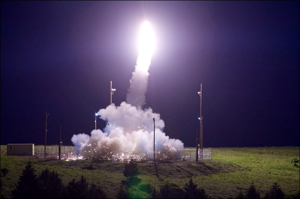 A Terminal High Altitude Area Defense (THAAD) interceptor is launched from the Pacific Spaceport Complex Alaska during a flight test on July 11. Photo by Leah Garton/Missile Defense Agency/Handout via Reuters