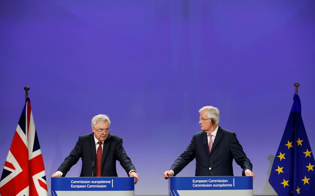 Britain's Secretary of State for Exiting the European Union David Davis and European Union's chief Brexit negotiator Michel Barnier hold a joint news conference after the round of Brexit talks in Brussels, Belgium July 20, 2017. REUTERS/Francois Lenoir - RTX3C7GG
