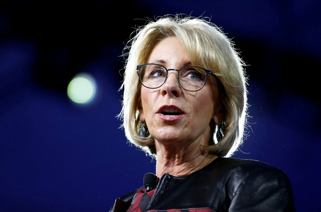 File photo of Secretary of Education Betsy DeVos by Joshua Roberts/Reuters