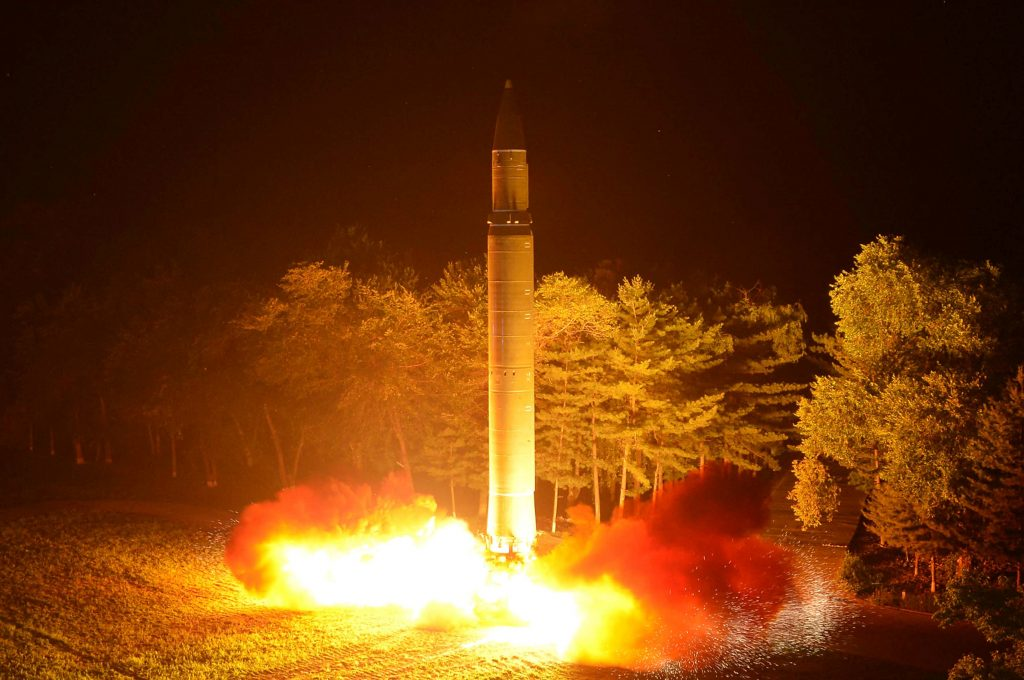 Intercontinental ballistic missile (ICBM) Hwasong-14 is pictured during its second test-fire in this undated picture provided by KCNA in Pyongyang on July 29, 2017. Photo by KCNA/ Reuters