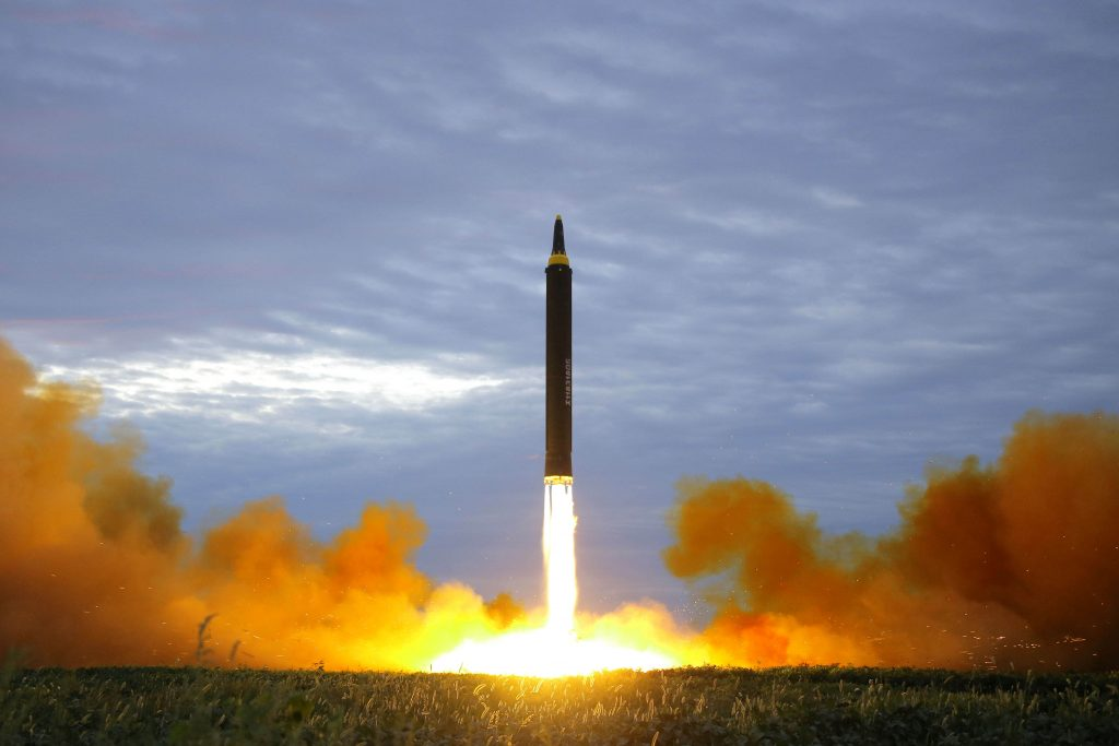 a missile is launched during a long and medium range ballistic rocket launch drill in