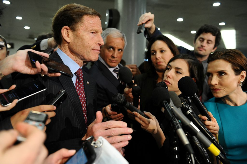 Sen. Richard Blumenthal (D-CT) speaks to the media after Deputy U.S. Attorney General Rod Rosenstein's classified briefing for the full U.S. Senate on President Donald Trump's firing of FBI Director James Comey in Washington U.S., May 18, 2017. REUTERS/Mary F. Calvert - RTX36I4G