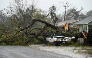 A car is crushed by a huge tree after Hurricane Harvey struck in Rockport