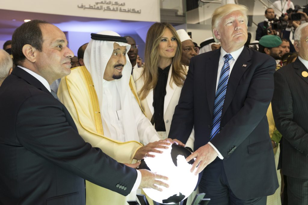 President Donald J. Trump and First Lady Melania Trump join King Salman bin Abdulaziz Al Saud of Saudi Arabia, and the President of Egypt, Abdel Fattah Al Sisi, Sunday, May 21, 2017, to participate in the opening of the Global Center for Combating Extremist Ideology. (Official White House Photo by Shealah Craighead)
