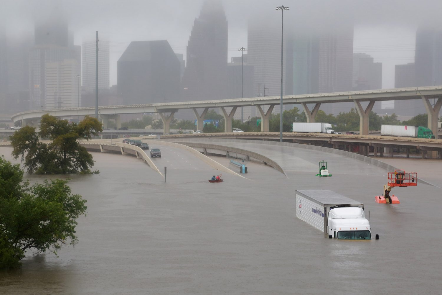 Interstate highway 45 is submerged from the effects of Hurricane Harvey seen during widespread flooding in Houston, Texas, U.S. August 27, 2017. Photo by Richard Carson/REUTERS