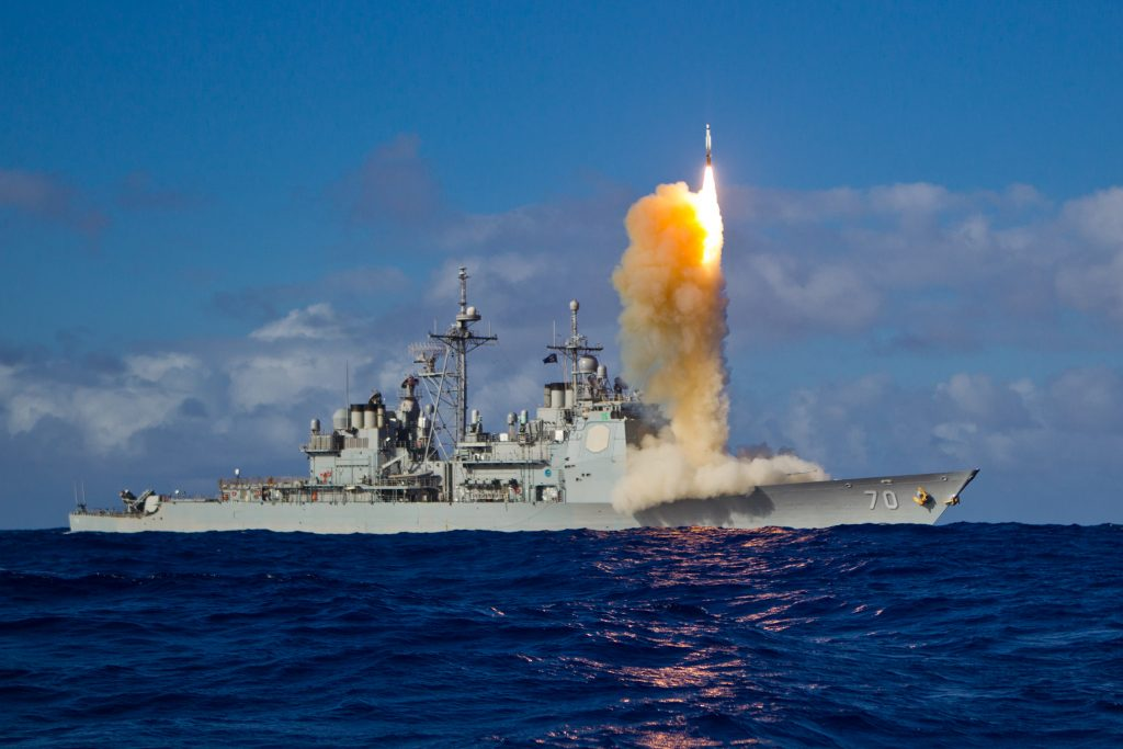 File photo of a Standard Missile-3 (SM-3) Block 1B interceptor missile launching from the guided-missile cruiser USS Lake Erie from the U.S. Navy