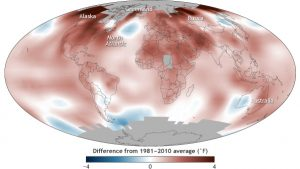 2016 surpassed 2015 as the warmest year in 137 years of recordkeeping, due to the lingering influence of El Niño and long-term global warming. Climate map by the National Oceanic and Atmospheric Administration