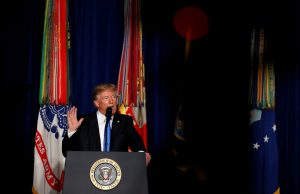 U.S. President Donald Trump announces his strategy for the war in Afghanistan during an address from Fort Myer, Virginia, U.S., August 21, 2017. REUTERS/Joshua Roberts - RTS1CQU0