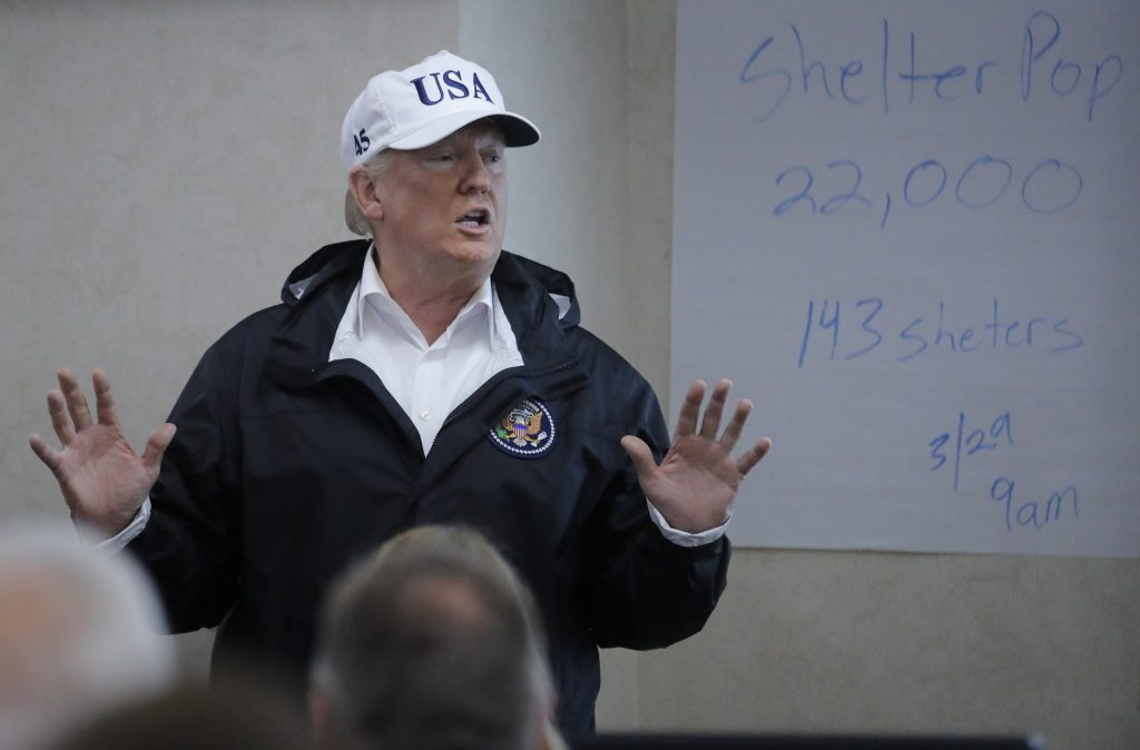 U.S. President Donald Trump speaks during a tour of the Texas Department of Public Safety Emergency Operations Center in A...