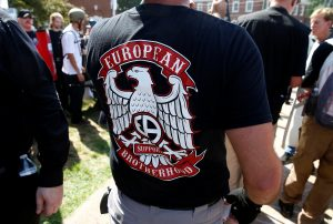 "A white supremacist wears a shirt with the slogan ""European Brotherhood"" at a rally in Charlottesville, Virginia, U.S., August 12, 2017. Photo by Joshua Roberts/REUTERS"