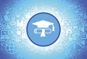 Diploma and Hat Icon on Internet Technology Background