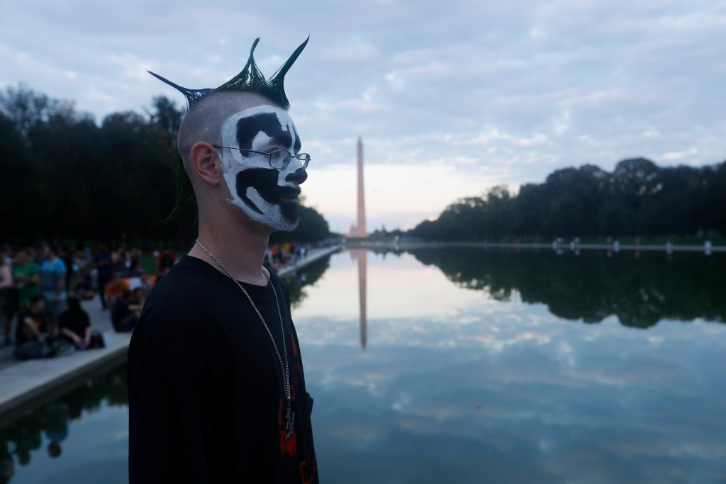 WASHINGTON, DC - SEPTEMBER 16: People gather at the Lincoln Memorial on the National Mall for the Juggalo March On Washington on September 16, 2017 in Washington, DC. (Photo by John Lamparski/WireImage)