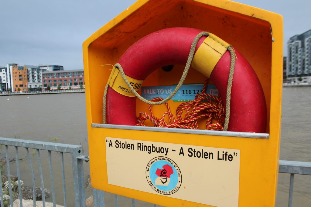 Life preservers are located along the Shannon River in Limerick. Photo by Larisa Epatko/PBS NewsHour